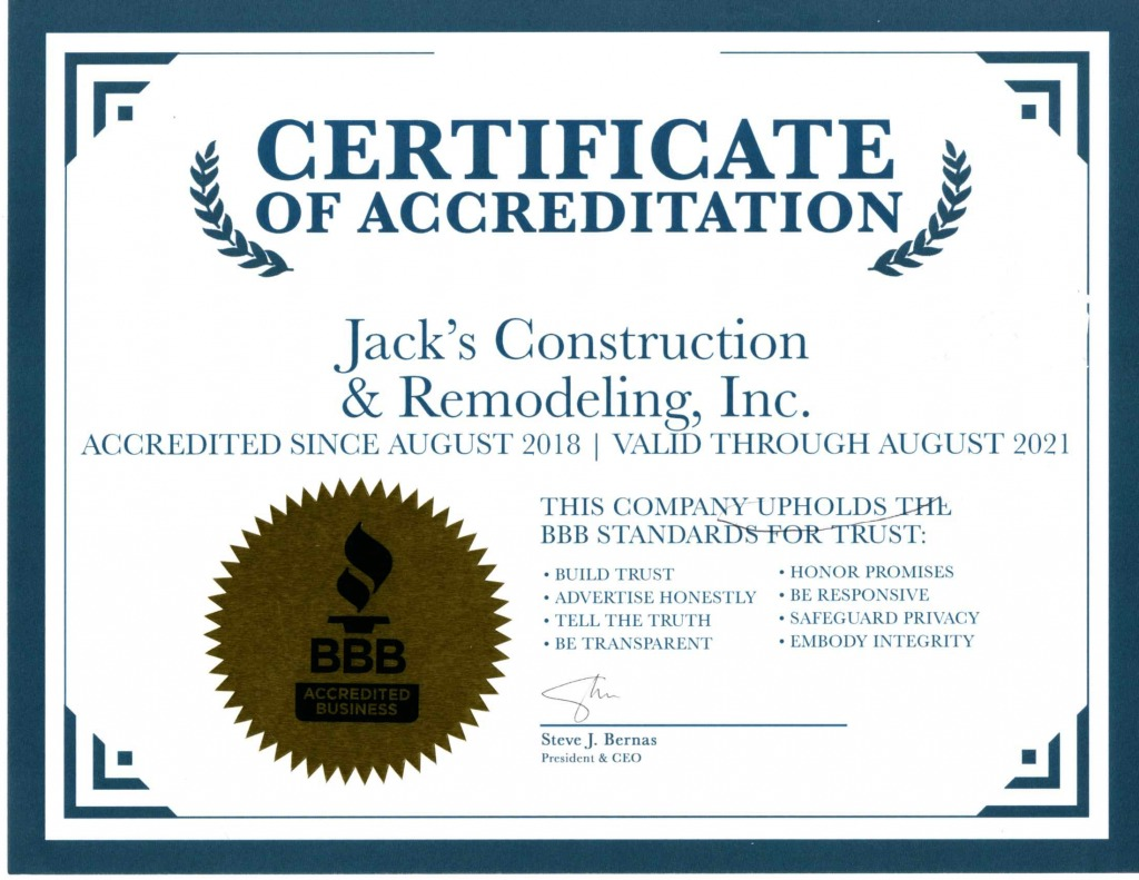 home additions Chicago certyficate
